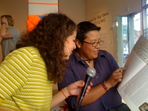 artists Vreni Castillo and Susa Cortez playing theory-oke